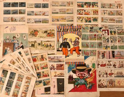 BON VIVANT et divers  Ensemble de dessins,...