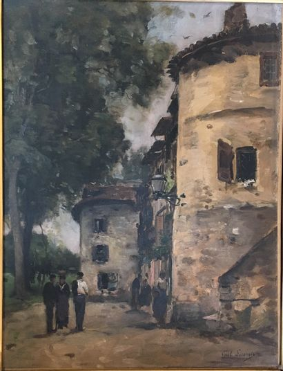 Paul LECOMTE (1842-1920)  Rue de village...