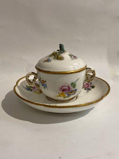 SEVRES  Pot à sorbet avec son couvercle et sa soucoupe en porcelaine à décors de...