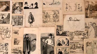 Lot de caricatures et divers  38 feuille...