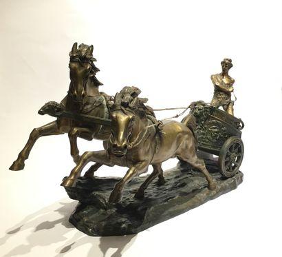 Edmond HOYOIS (XIX-XX siècle)  Important groupe en bronze à patine de deux couleurs...