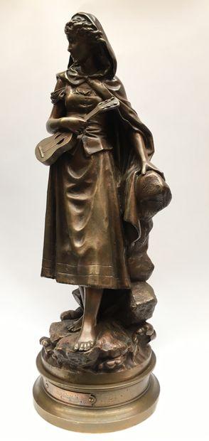 Eutrope BOURET (1833-1906)  Jeune fille à...