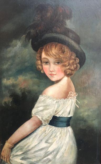 Ecole française du XIXeme siècle  Jeune fille...