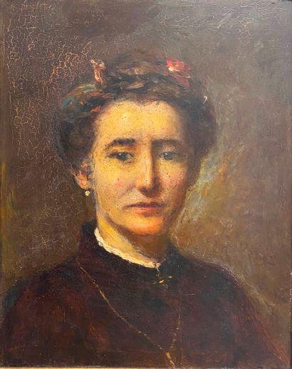 Ecole du XIXème siècle  Portrait d'une jeune...