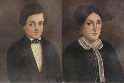 Paire de portraits  Huiles sur cartons  58x48...
