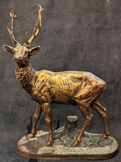D'après Alfred DUBUCAND (1828-1894)  Le cerf...