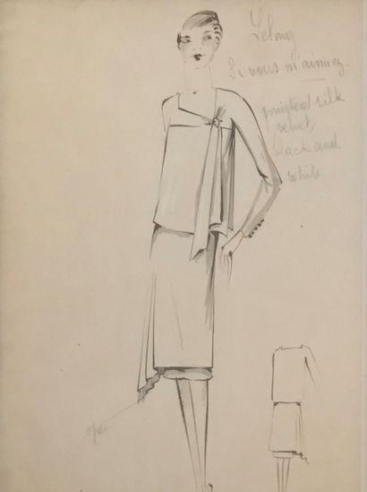 Léo TISSANDIÉ (XIX-XXème)  5 Croquis de mode,...