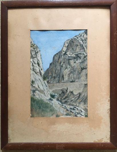 Aquarelle  Pont dans la montagne  A vu 24...