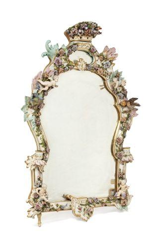 MEISSEN  Mirror inscribed in a polychrome...