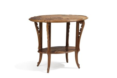 Émile GALLÉ (1846 - 1904)  Tea table in walnut and veneer. Top top top with fern...