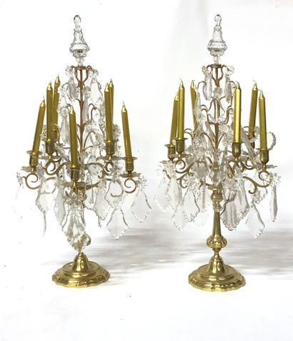Pair of brass girandoles with seven arms...