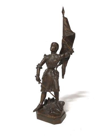 19th century FRENCH school  Joan of Arc waving...