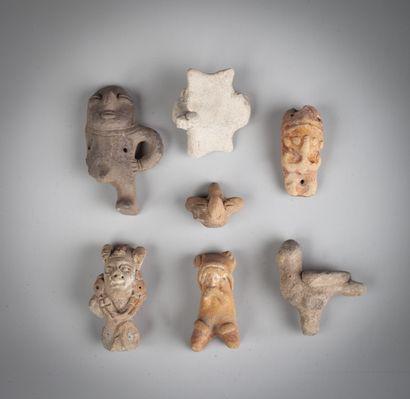Ensemble de sept bustes, statuettes, animaux,...