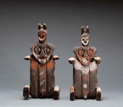 Paire de statuettes « Kiké »  masculine et...