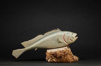 Cimier traditionnel  sculpté d'un poisson...