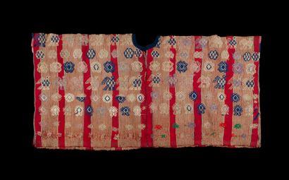 Large huipile  rectangulaire à décor de motifs...