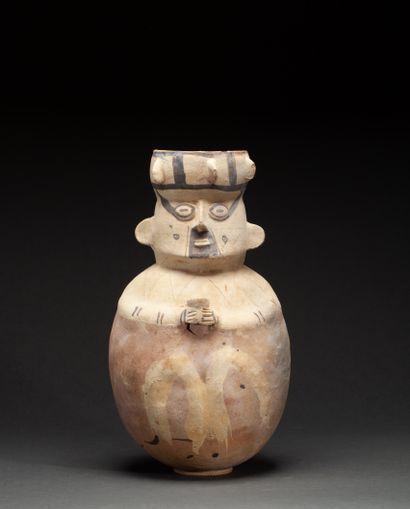 Vase  présentant un personnage couronné assis...