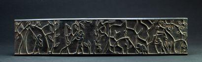 Panneau  sculpté d'un décor de chasse et...