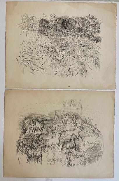 Raoul DUFY (1877-1953)  Clocher et ses champs/Chevaux...