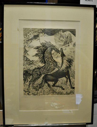 Claude DURRENS (Né en 1921)  Les chevaux...