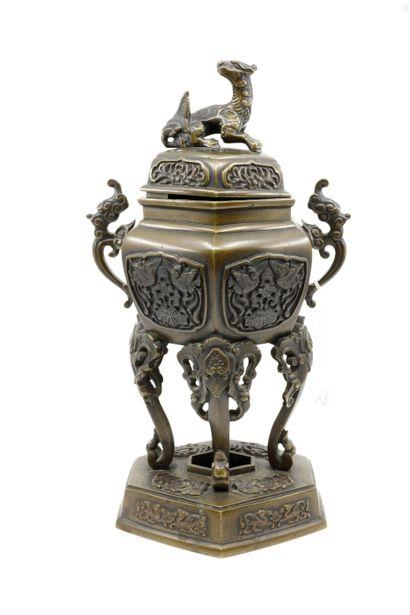 CHINE fin XIX ème  Brûle-parfum en bronze...