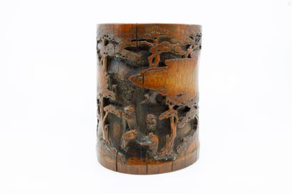 Chine XIXème  Porte pinceaux Bitong en bambou...