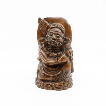 CHINE XX ème  Lot de deux statuettes en bois...