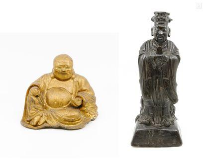 CHINE fin XIX ème  Statuette en bronze à...