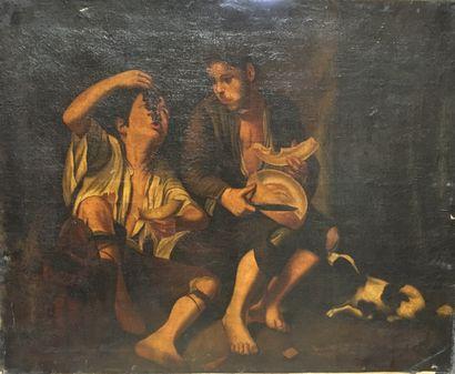 Jeune homme et enfant mangeant des fruits...