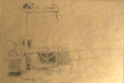 Ecole Française fin XIXème  Le pont  Crayon...