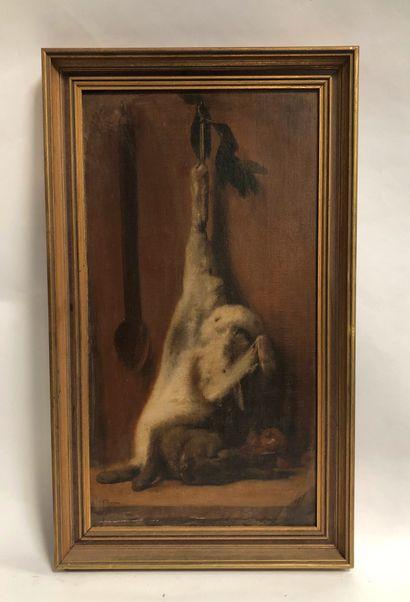 Ecole du XIXème siècle  Nature morte au lièvre...