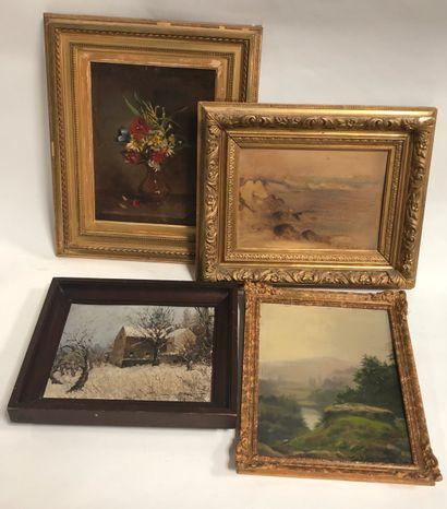 Lot de quatre pièces encadrées, huile, aquarelle,...
