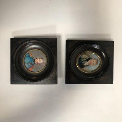 Lot de 2 miniatures  Portraits d'homme  Le...
