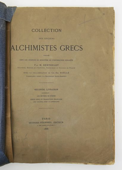 Alchimie - BERTHELOT (Marcellin). Collection...