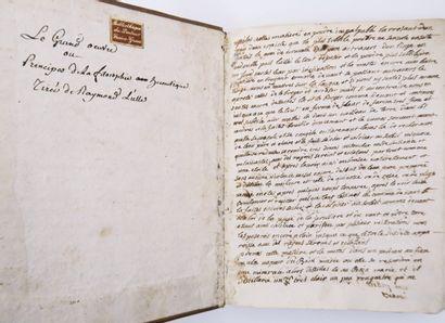 Alchimie - Manuscrit XVIIe s. Le Grand Œuvre...