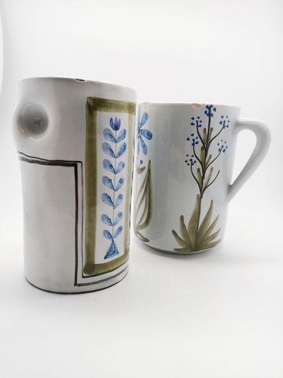 """Roger Capron (1922 - 2006)  Deux pots en céramique émaillée  L'un signé """"Capron..."""