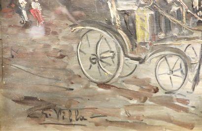 G. VILLA  Calèche  Signé en bas à gauche  Huile sur bois  30 x 40 cm