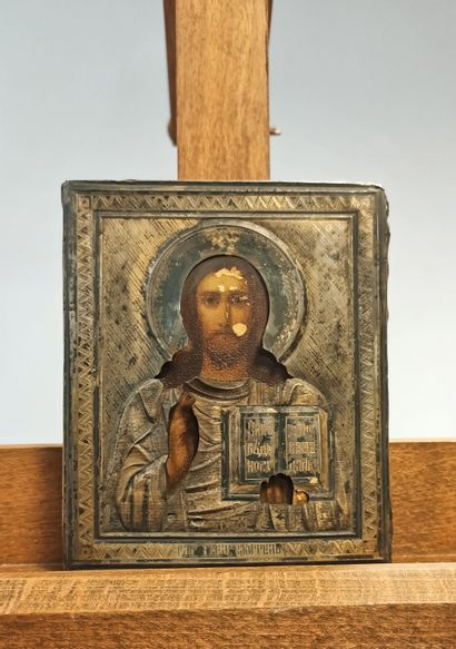 Icône du Christ Pantocrator Tempera sur...