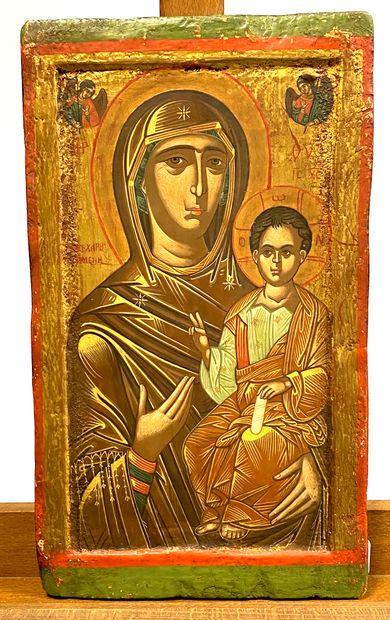Icône de la Mère de Dieu Hodigitria  Tempera...