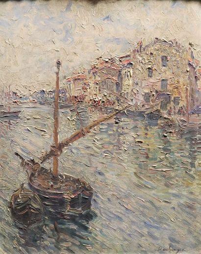 Edouard Jean DAMBOURGEZ (1844-1931)  La barque...
