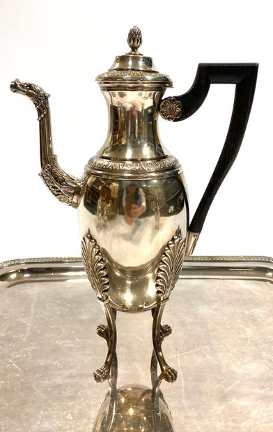 Service à thé et café en métal argenté comprenant une cafetière, une théière, un...