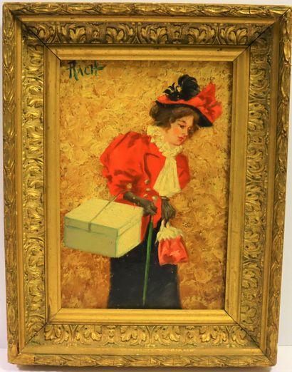 RACH (1853-?)  Elégante au chapeau rouge...
