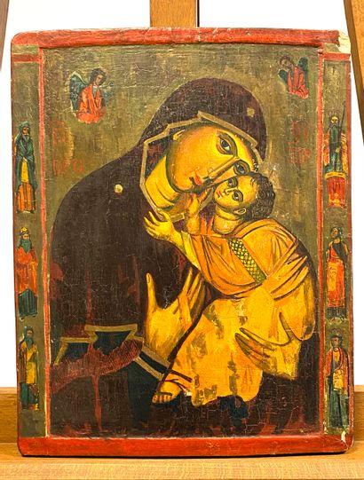 Icône de la Mère de Dieu de Tendresse  Tempera...