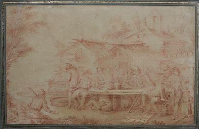 Suiveur de Téniers, XVIII ème  Scène de taverne...