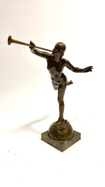Alexandre FALGUIERE (1831-1900)  The Renown, circa 1895  Bronze with medal patina...
