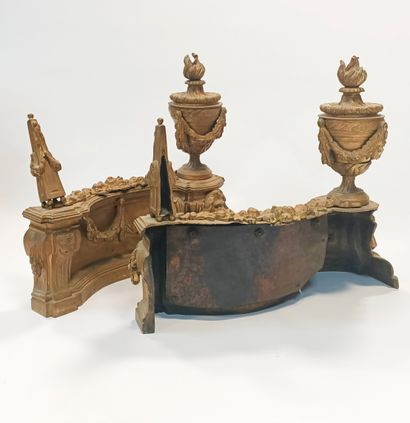 Pair of Louis XVI style gilt bronze andirons decorated with cassolettes and obelisks...