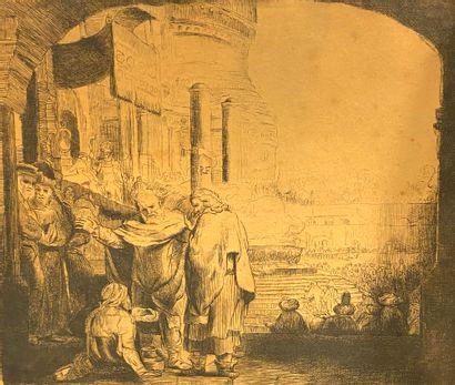 D'après REMBRANDT  Lot de quatre eaux fortes :  - La Fuite en Egypte  - L'adoration...