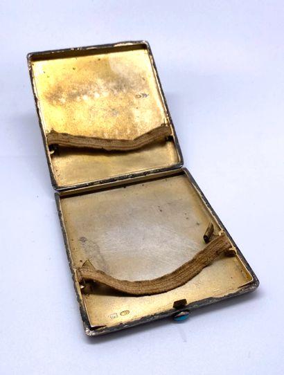 Étui à cigarettes rectangulaire en argent 84 zolotniks (875 millièmes), le couvercle...