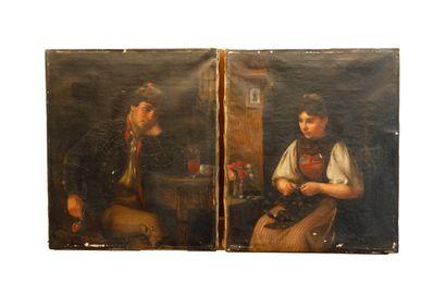 Ecole Slave de la fin du XIX ème  Fumeur...