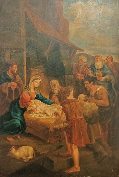Ecole italienne du XIX eme L'adoration des bergers Huile sur panneau 43,5 x 30...